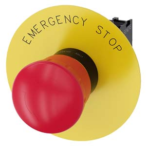 EM. STOP MUSH PB. 22MM. RND. PLST. RED. 40MM. LAT. POS LAT. ROT TO UNL.  YELLOW BACKING PL. INSCR: EMERGENCY STOP.  HLDR. 1NC. SCR TERM